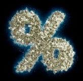 Símbolo % del porcentaje hecho de billetes de dólar Imágenes de archivo libres de regalías