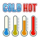 Símbolo del termómetro caliente y frío Imagen de archivo libre de regalías