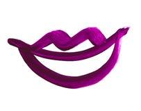 Símbolo dibujado mano de los labios icono pintado de la boca Imagenes de archivo