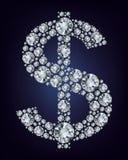 Símbolo do dólar nos diamantes. Fotos de Stock Royalty Free