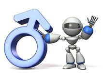 Símbolo do gênero com robô Fotos de Stock Royalty Free
