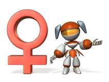 Símbolo do gênero com robô Fotografia de Stock