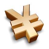 símbolo dourado dos ienes 3D Foto de Stock