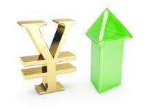 símbolo dourado dos ienes e setas ascendentes Fotografia de Stock Royalty Free