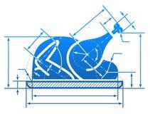 Símbolo entero del pavo de la Navidad con las líneas de dimensión Imagen de archivo libre de regalías