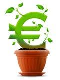 Símbolo euro cada vez mayor como la planta con las hojas en flujo Foto de archivo libre de regalías