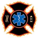 Símbolo flamejante do salvamento do incêndio Fotografia de Stock
