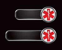 Símbolo médico do Caduceus em abas checkered pretas Fotografia de Stock Royalty Free