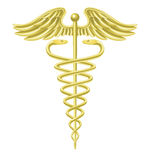 Símbolo médico do ouro do Caduceus Foto de Stock Royalty Free