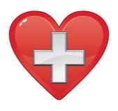 Símbolo médico dos primeiros socorros no coração Imagens de Stock Royalty Free