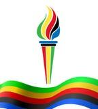 Símbolo olímpico de la antorcha con la bandera Imágenes de archivo libres de regalías