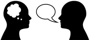 Símbolo principal con pensamiento y la burbuja del discurso Fotos de archivo libres de regalías