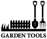 Símbolo que cultiva un huerto negro con las herramientas Foto de archivo libre de regalías