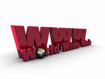 símbolo vermelho de 3D WWW Foto de Stock