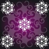 Símbolos abstractos en fondo negro-púrpura Fotografía de archivo libre de regalías