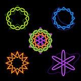 Símbolos celestiales de neón Imágenes de archivo libres de regalías