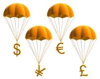 Símbolos de dinero en circulación Fotografía de archivo