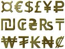Símbolos de dinero en circulación de oro 1 Foto de archivo libre de regalías