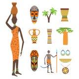 Símbolos de África e grupo do vetor do curso Imagem de Stock Royalty Free