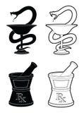 Símbolos de la farmacia Fotos de archivo