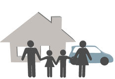 Símbolos de la gente del coche de la casa de la gente de la familia en el país Imagen de archivo