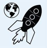 Símbolos de la tierra de la nave y del planeta de Rocket Imagen de archivo libre de regalías