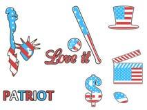 Símbolos de los E.E.U.U. en los colores patrióticos del aislamiento en un fondo blanco Insignias patrióticas del remiendo Imágenes de archivo libres de regalías