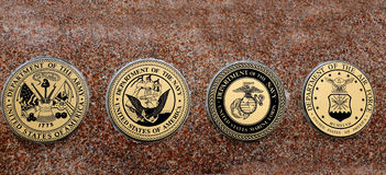 Símbolos de los infantes de marina militares de la fuerza aérea de la marina de guerra del ejército de los E.E.U.U. Foto de archivo libre de regalías