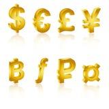 Símbolos de moeda 3D dourados, ícone da moeda Foto de Stock