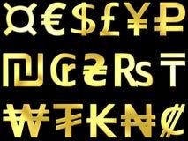 Símbolos de moeda dourados 2 Fotografia de Stock Royalty Free