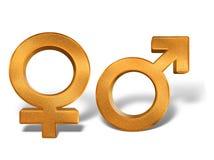 Símbolos de oro del sexo 3D del género del modelo aislados Imágenes de archivo libres de regalías