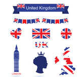 Símbolos de Reino Unido Iconos BRITÁNICOS de la bandera fijados Fotos de archivo libres de regalías
