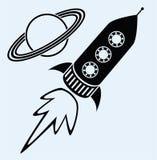 Símbolos de Saturno de la nave y del planeta de Rocket Foto de archivo libre de regalías