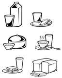 Símbolos del alimento de desayuno Fotografía de archivo