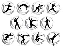 Símbolos del atletismo Imágenes de archivo libres de regalías