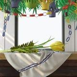 Símbolos del día de fiesta judío Sukkot con las hojas de palma Imágenes de archivo libres de regalías