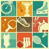 Símbolos del deporte del vintage Imagen de archivo libre de regalías