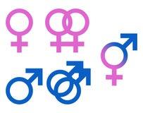 Símbolos del género de la ilustración Imágenes de archivo libres de regalías