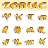 Símbolos del oro del zodiaco Fotos de archivo