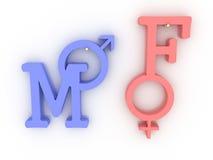 Símbolos del varón y rosado femenino y azul. 3D Foto de archivo libre de regalías