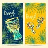 Símbolos do carnaval de Brasil Tam, maracas e folhas de palmeira do tam do cilindro Fotos de Stock