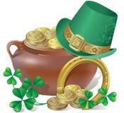 Símbolos do dia de Patricks de Saint Imagem de Stock