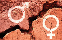 Símbolos do gênero no fundo da terra com uma quebra grande Fotos de Stock Royalty Free