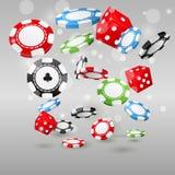 Símbolos do jogo e do casino - microplaquetas e dados de pôquer Imagem de Stock