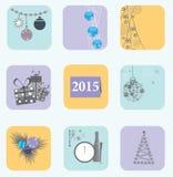 Símbolos do Natal e do ano novo Imagem de Stock Royalty Free