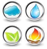 Símbolos do vetor de quatro elementos da natureza Foto de Stock