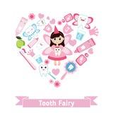 Símbolos dos cuidados dentários na forma do coração Imagem de Stock Royalty Free