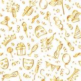 Símbolos dourados do carnaval no estilo da garatuja no branco Imagens de Stock Royalty Free