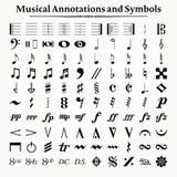 Símbolos e anotações musicais Foto de Stock Royalty Free