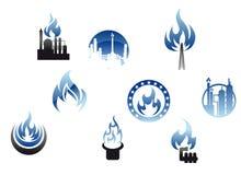 Símbolos e iconos de la industria petrolera Imagen de archivo libre de regalías
